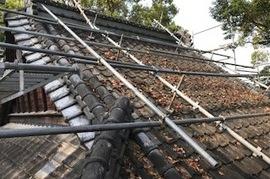 朝倉市 神社、屋根塗装の施工前画像