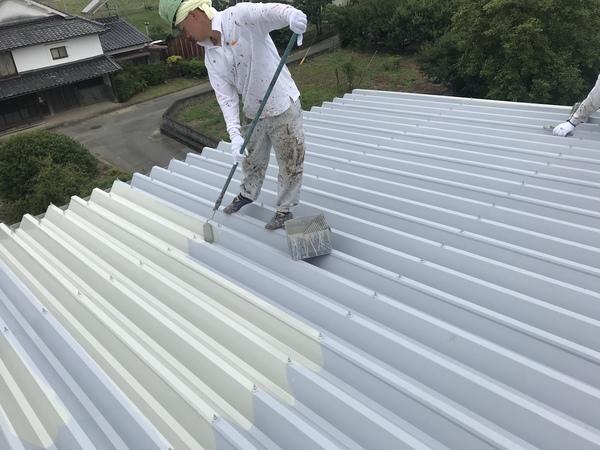 朝倉市 倉庫折板屋根塗装