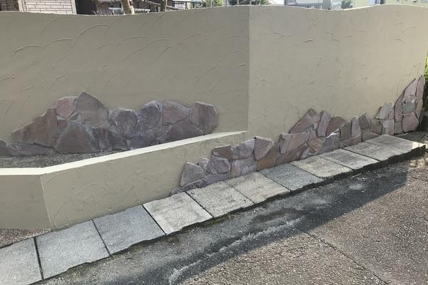 久留米市合川町 玄関 門塀壁塗装